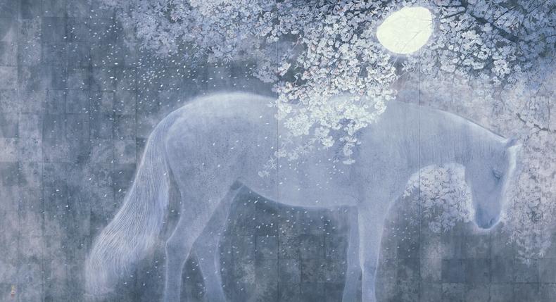 日本画家 西田俊英 公式ホームページ 作品解説「きさらぎの月」 日本画家 西田俊英 公式ホームペ